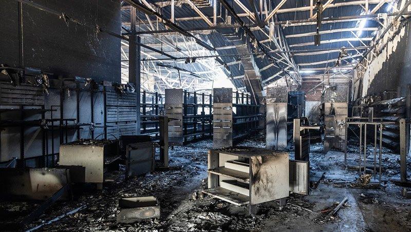 Burnt out shop